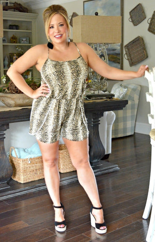 All Coiled Up Snake Print Romper