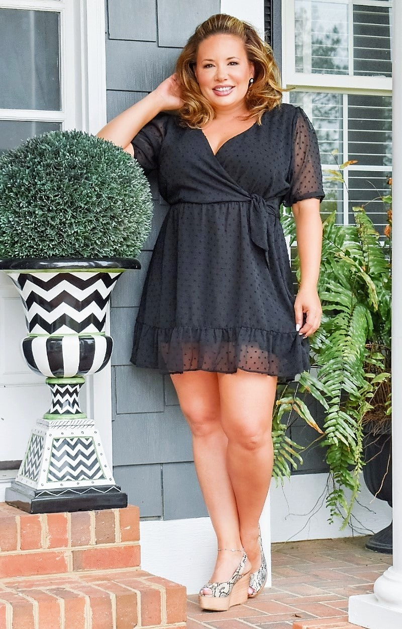 Load image into Gallery viewer, Brunch With Me Swiss Dot Romper - Black