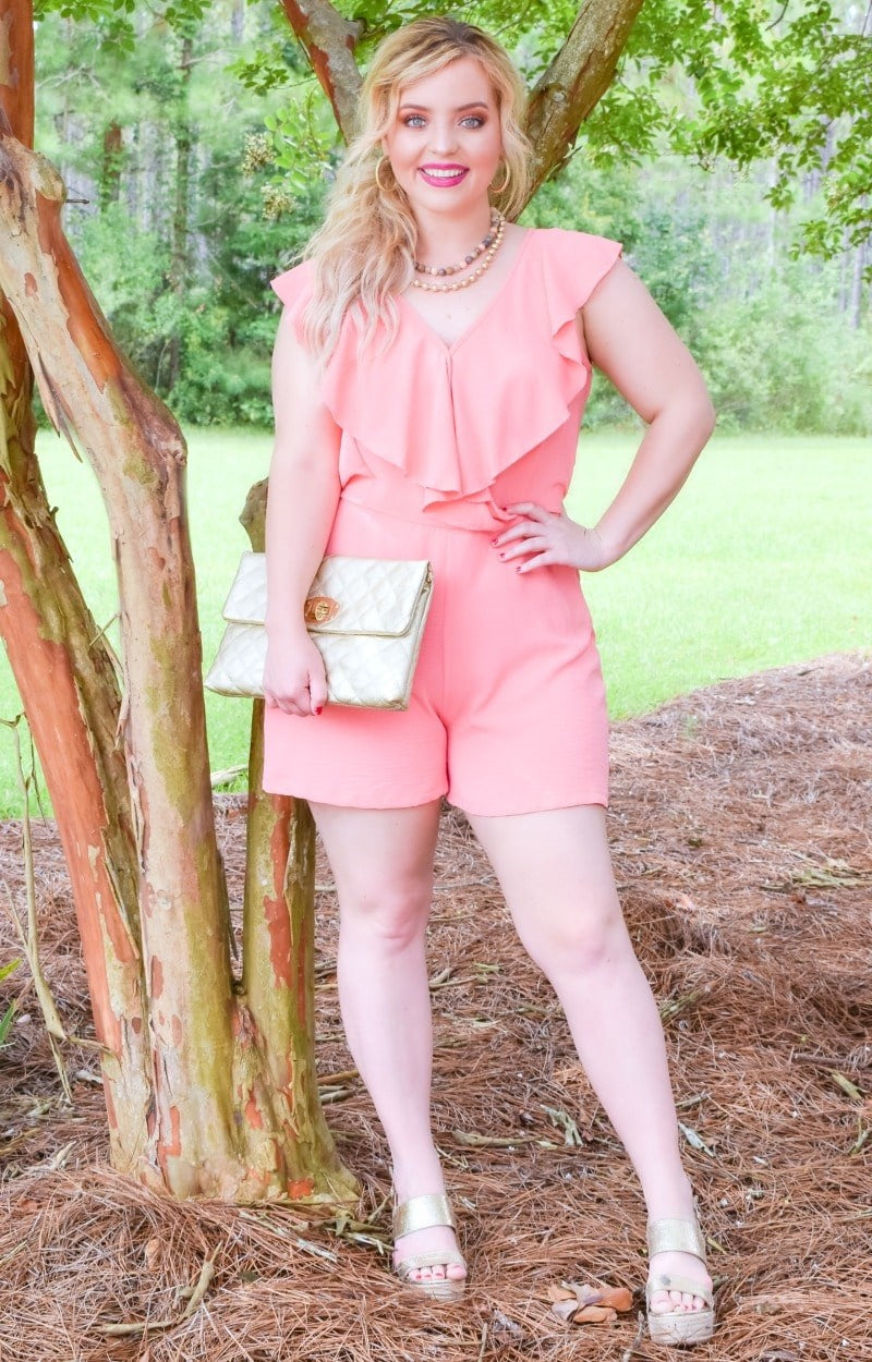 Sweetest Melody Romper - Coral