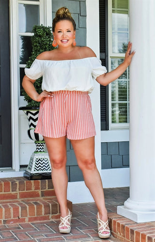 Like Clockwork Striped Romper - Coral