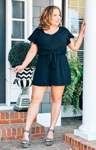 Here For It Romper - Black