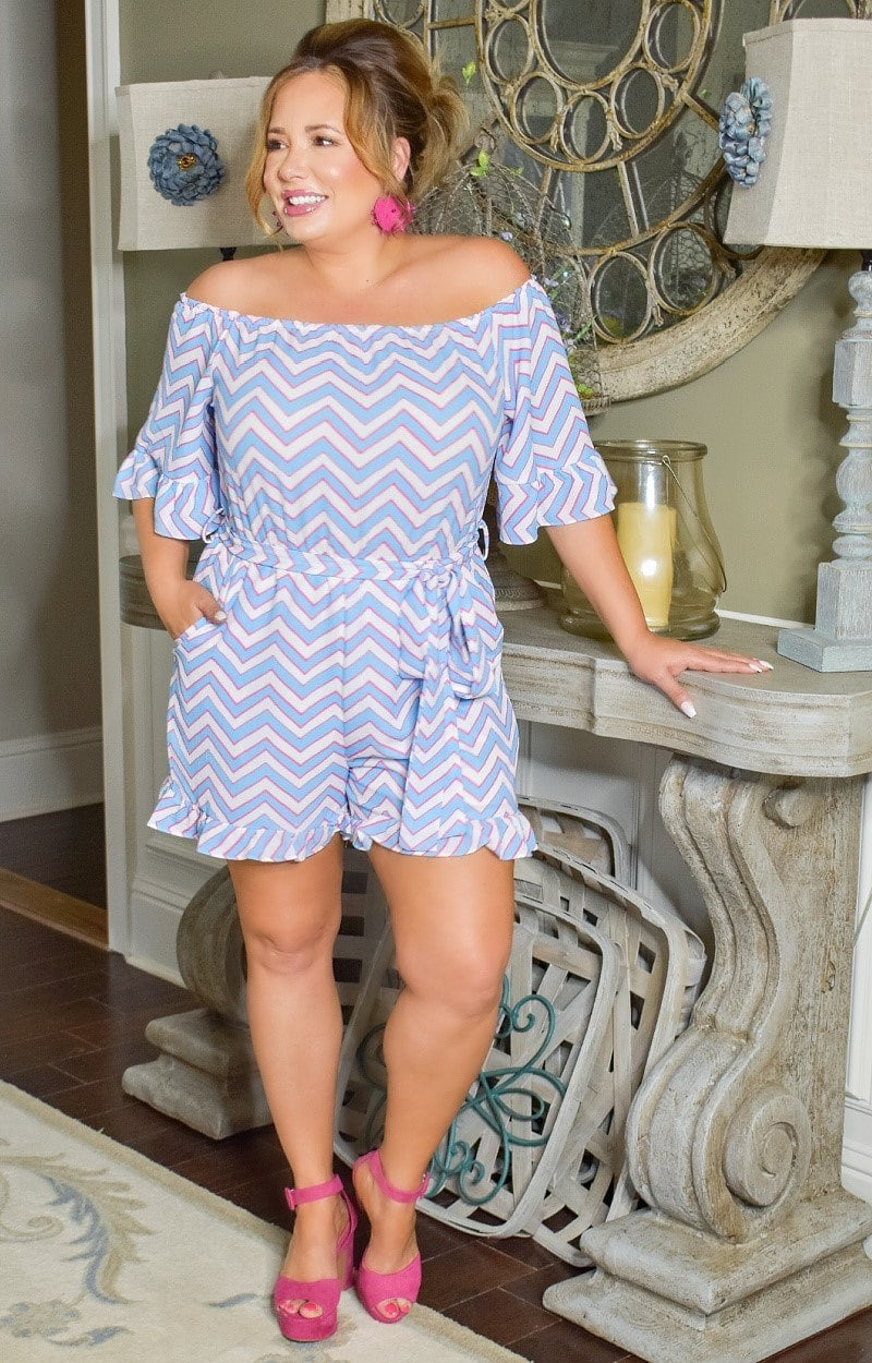 Call Me In Print Romper - Blue
