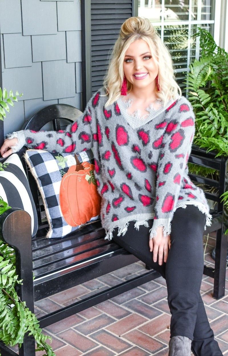 Cut You Loose Leopard Print Sweater - Charcoal