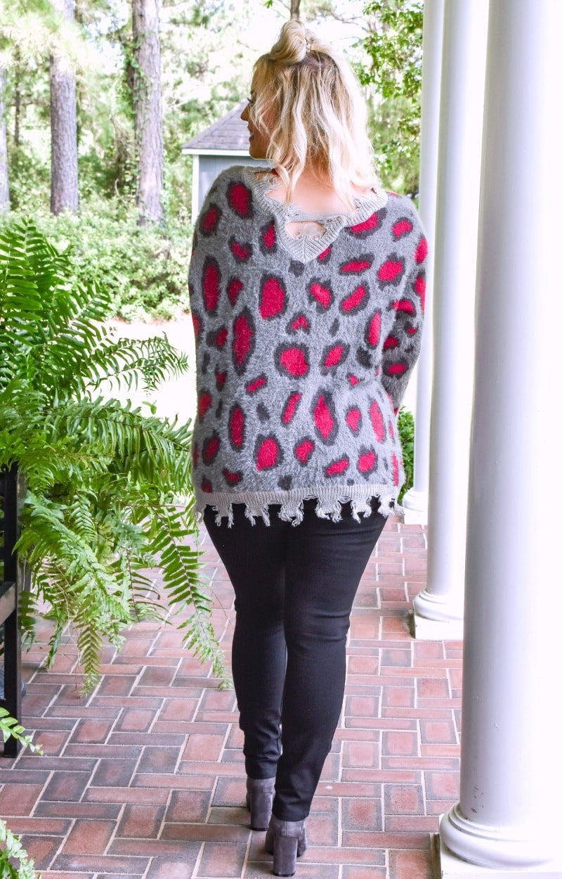Load image into Gallery viewer, Cut You Loose Leopard Print Sweater - Charcoal
