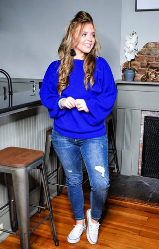 Unstoppable Feeling Oversized Sweater - Cobalt Blue