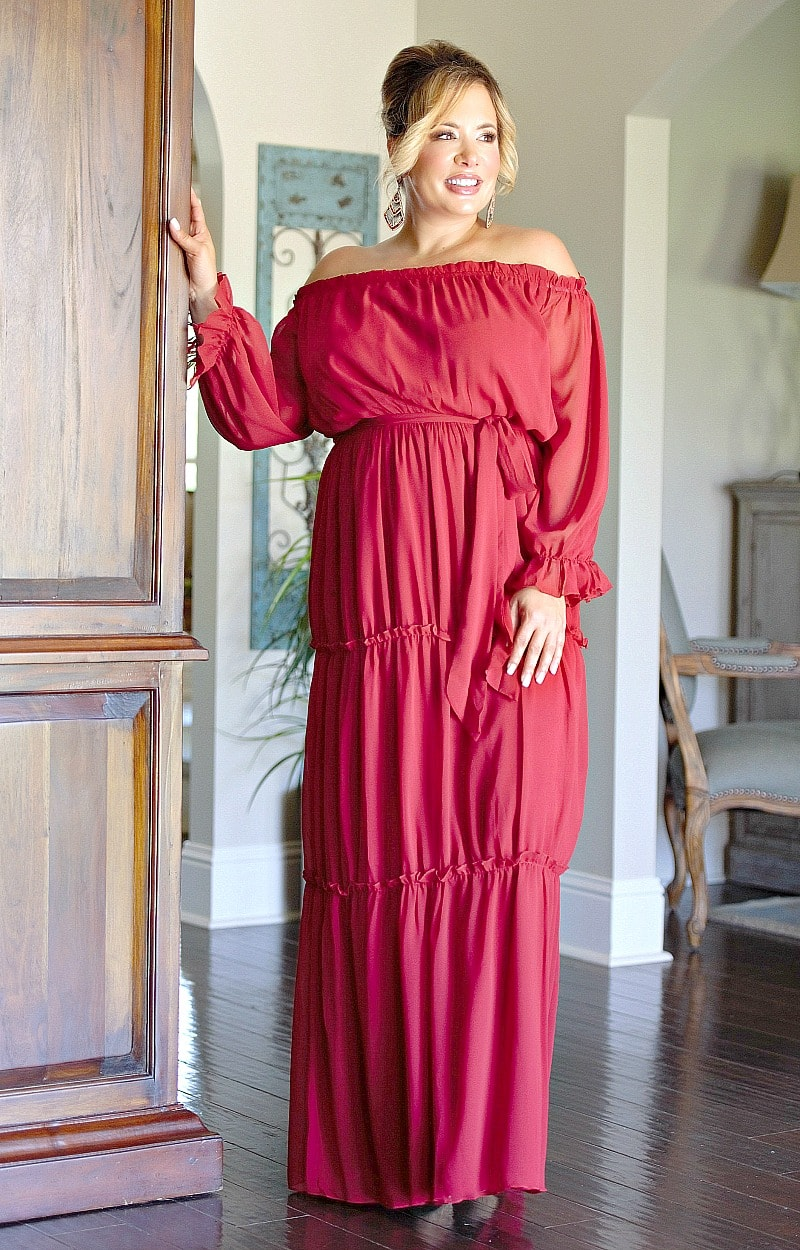 Load image into Gallery viewer, Had Your Chance Maxi Dress - Deep Red