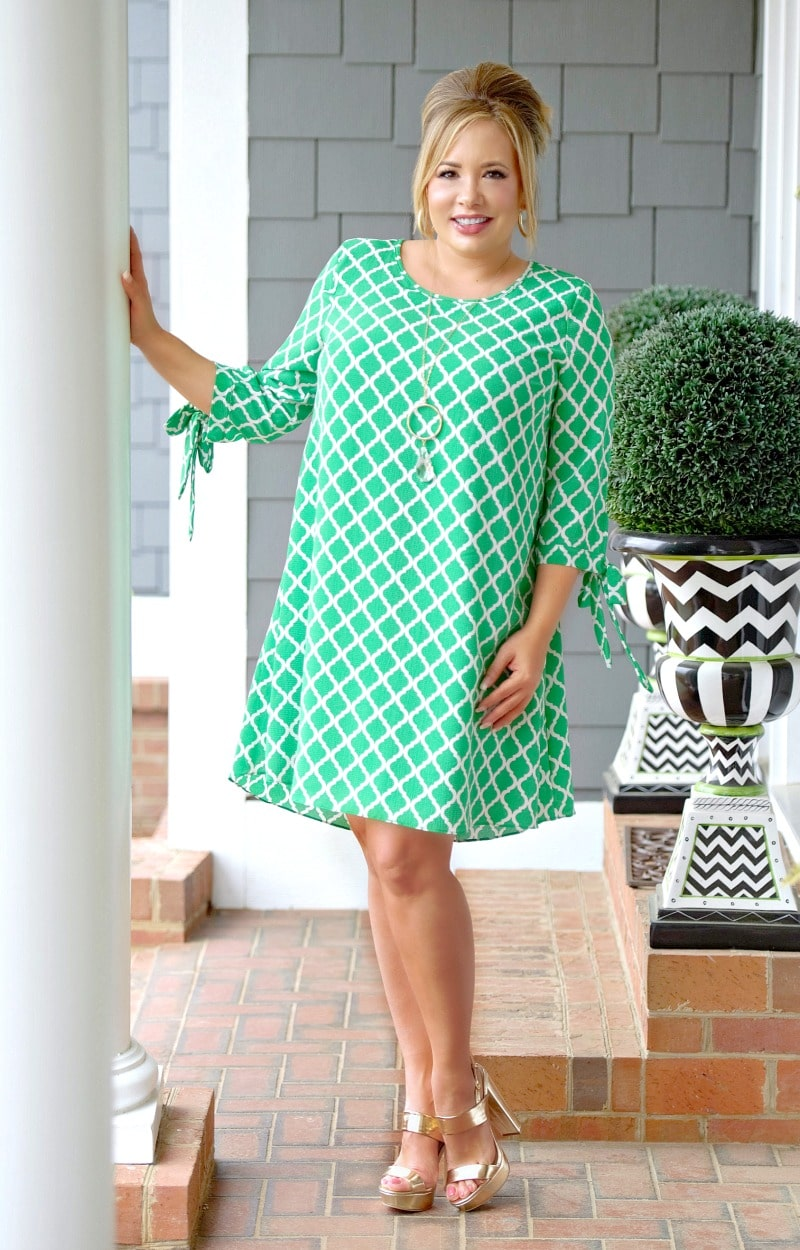 Run The World Print Dress - Kelly Green