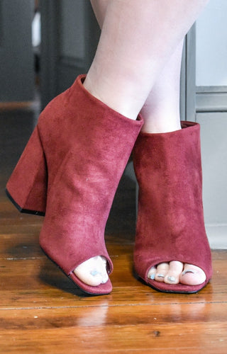 I'm Your Type Peep Toe Booties - Burgundy