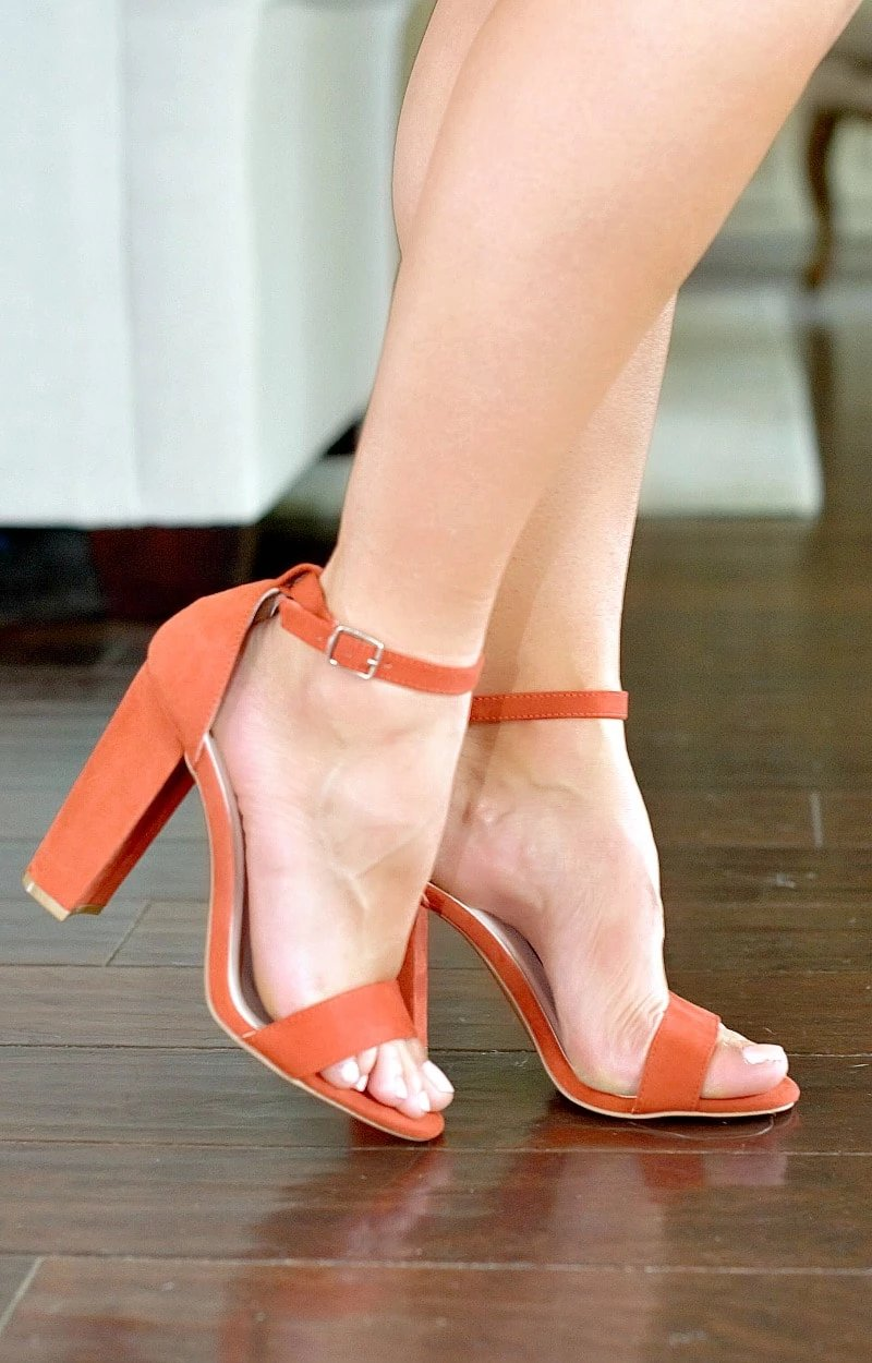 Follow Your Lead Ankle Strap Heels - Rust
