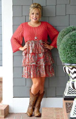 All Set Up Print Dress - Crimson