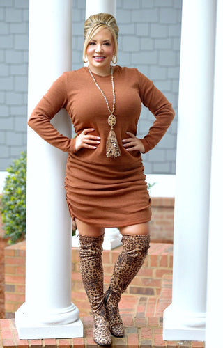Ruched & Ready Dress - Rust