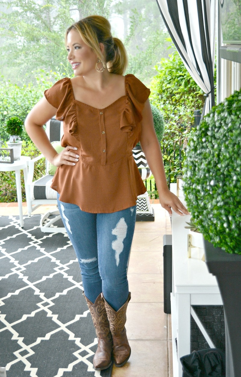 Load image into Gallery viewer, Pick A Date Peplum Top - Rust