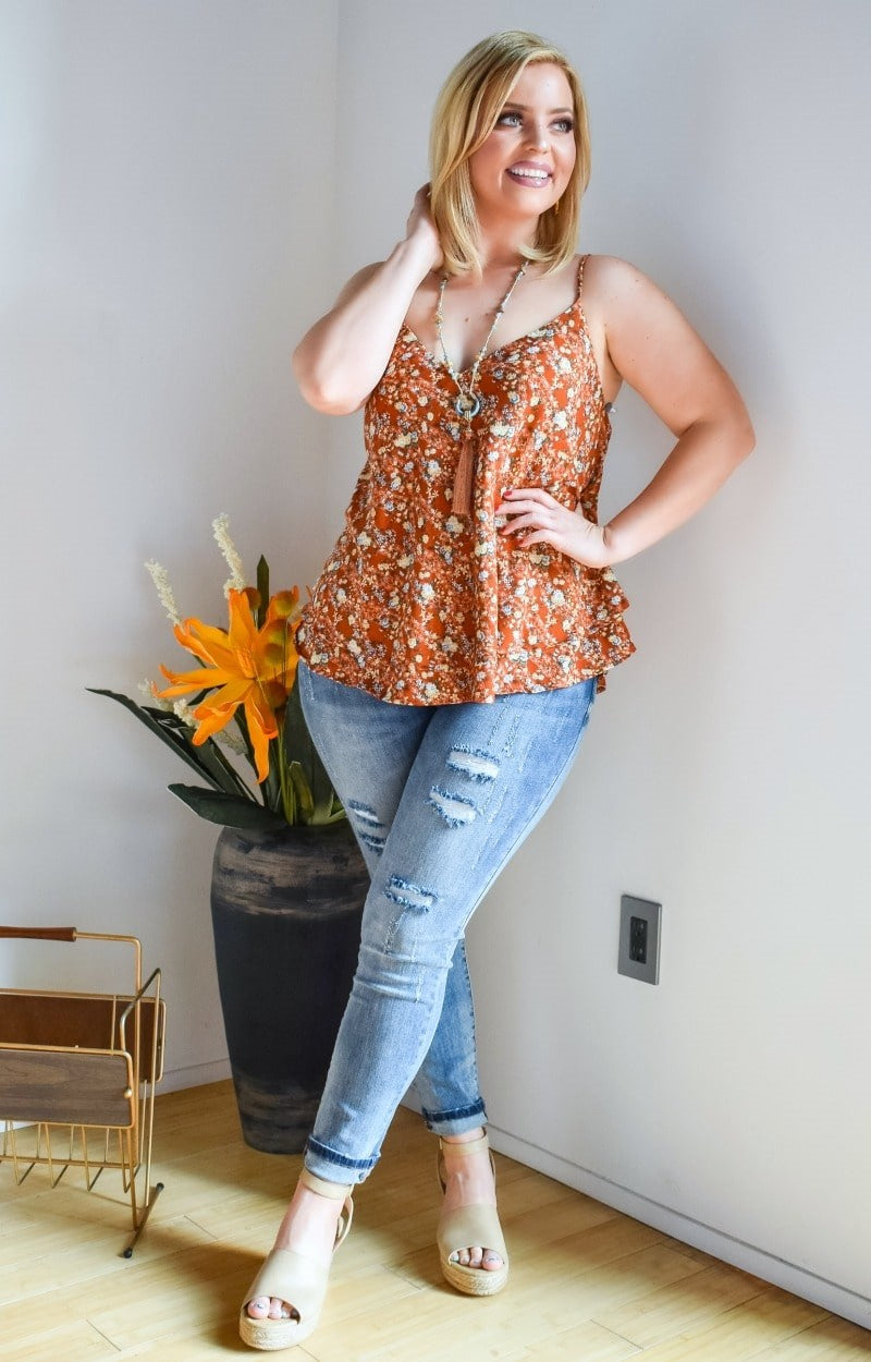 Had Your Shot Floral Top - Rust