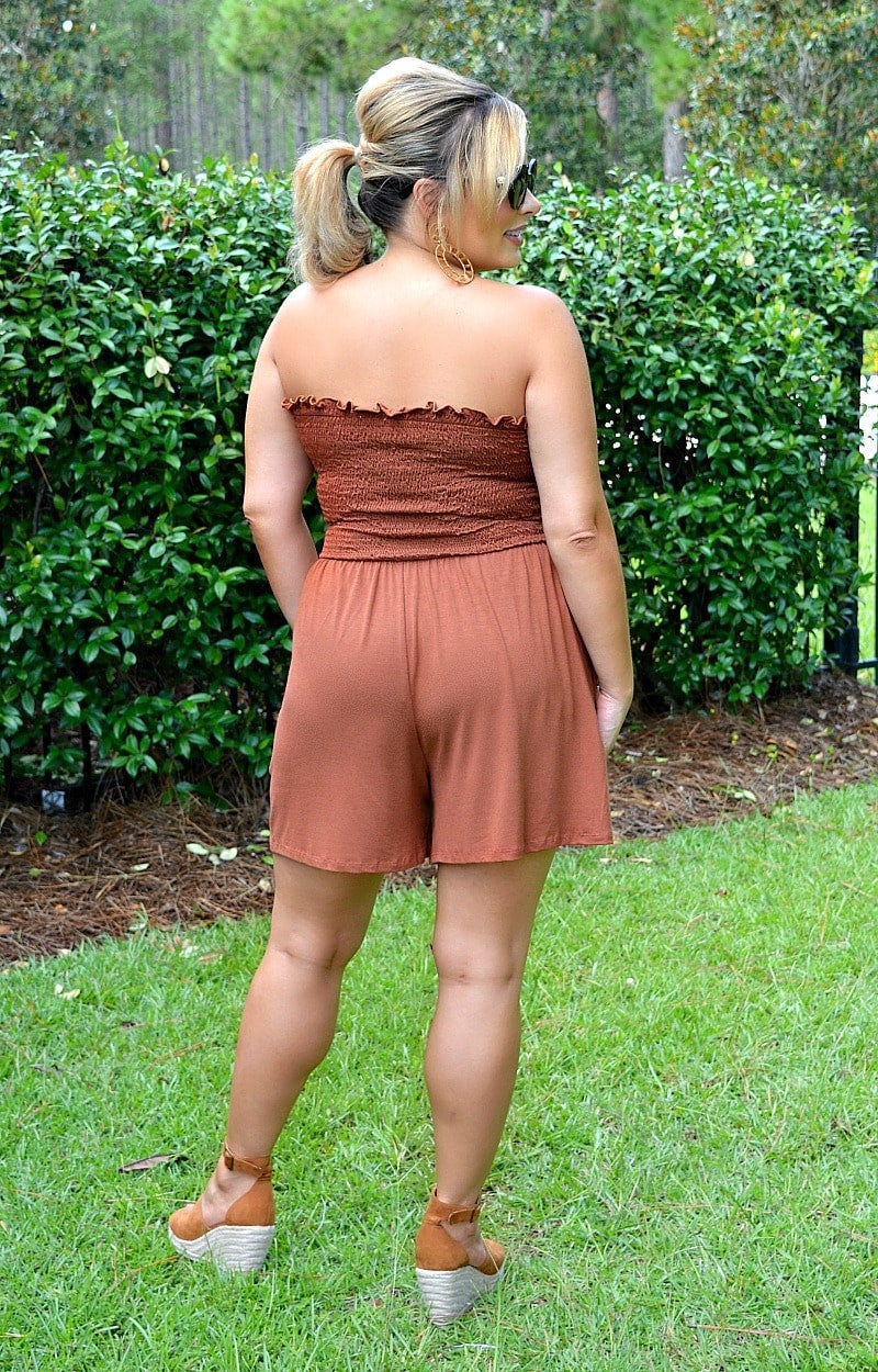 Casual For The Day Romper - Rust