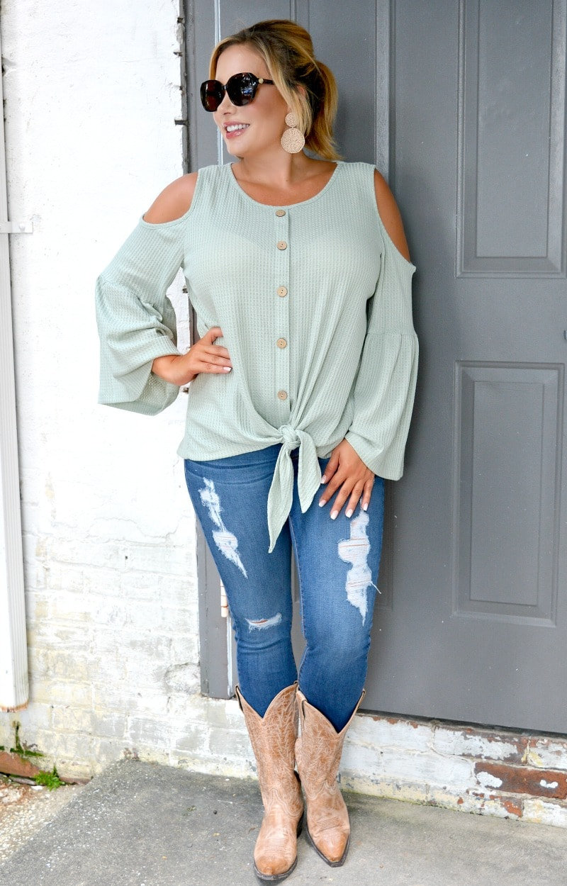 Load image into Gallery viewer, Lay It All Out Cold Shoulder Top - Sage