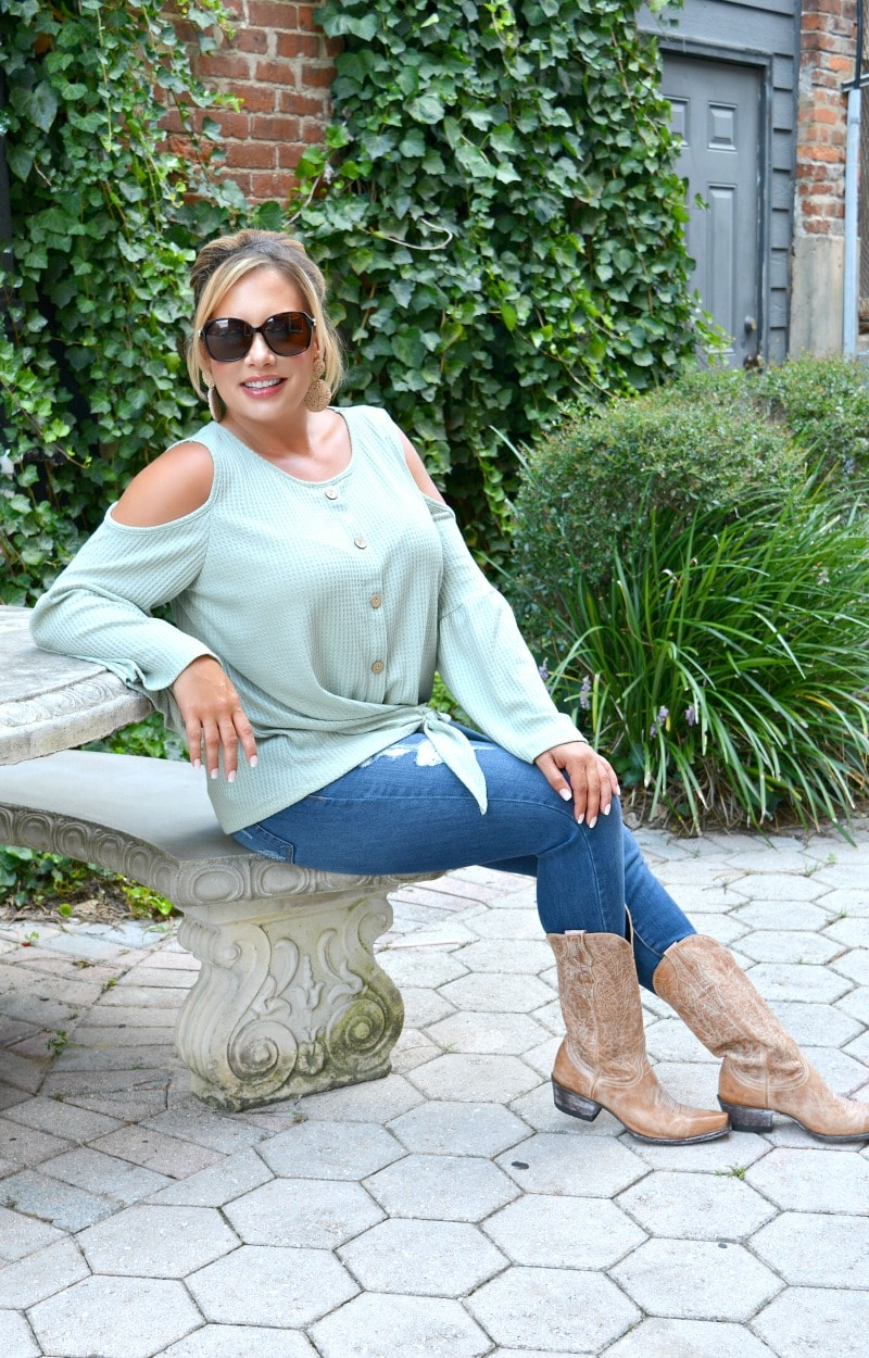 Lay It All Out Cold Shoulder Top - Sage