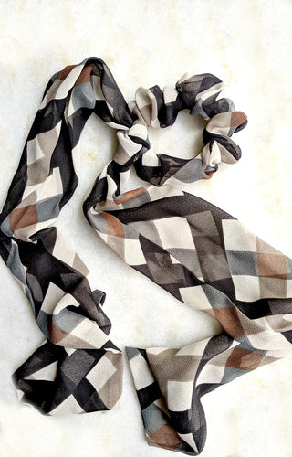 Ask Me Again Plaid Scrunchie Scarf