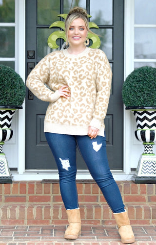 All This Way Leopard Print Sweater - Taupe