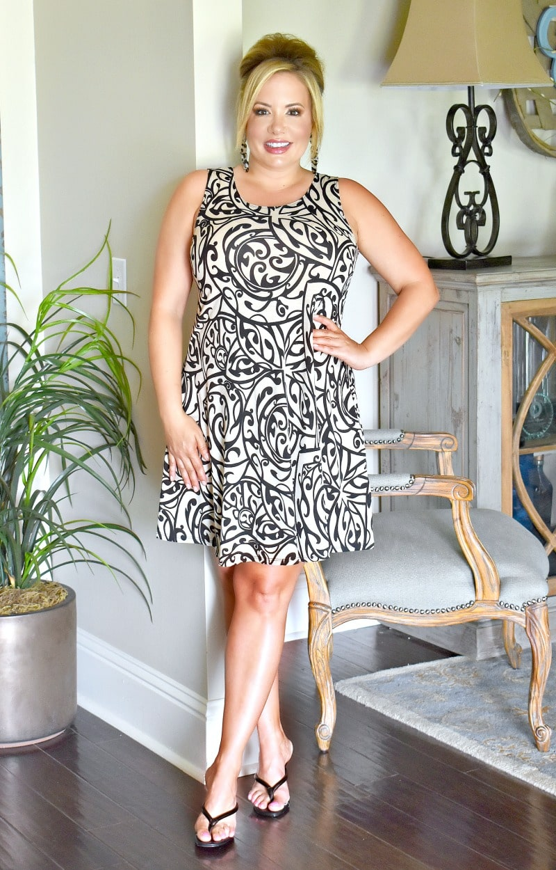 Hard To Believe Print Dress - Taupe/Black
