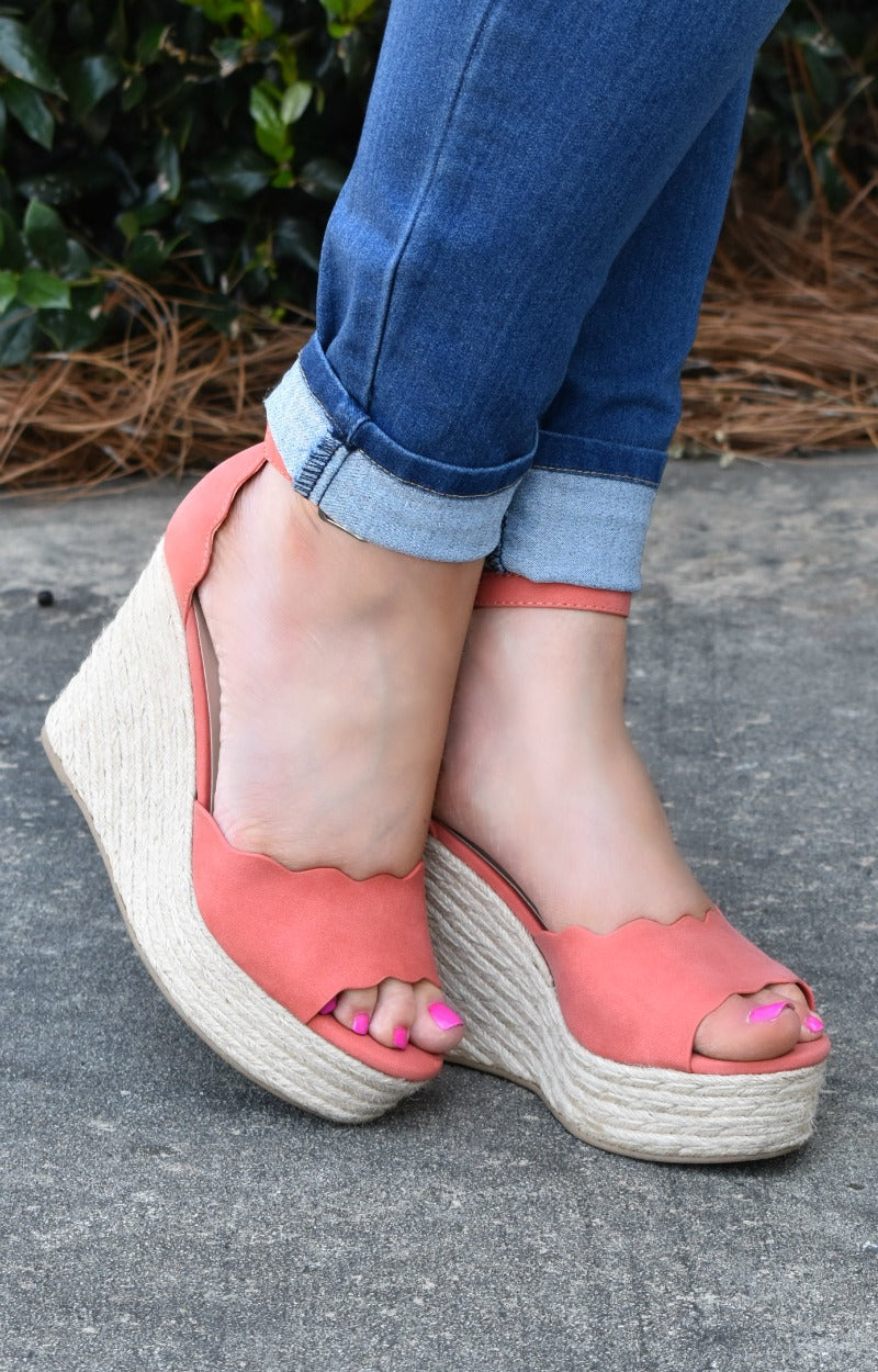 Across The Room Wedges - Coral