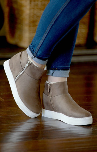 More To Offer Wedge Sneakers - Dark Taupe