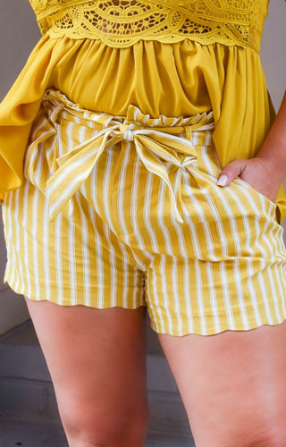 No Comparison Striped Shorts - Marigold
