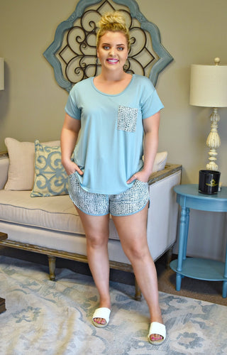 Just Lounging Top - Teal Blue