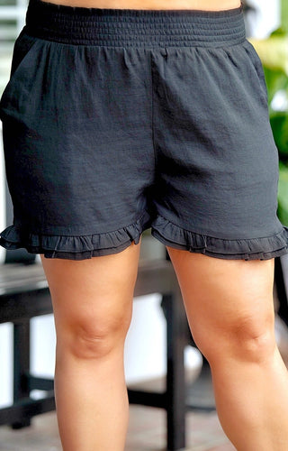 Made To Perfection Ruffle Shorts - Black