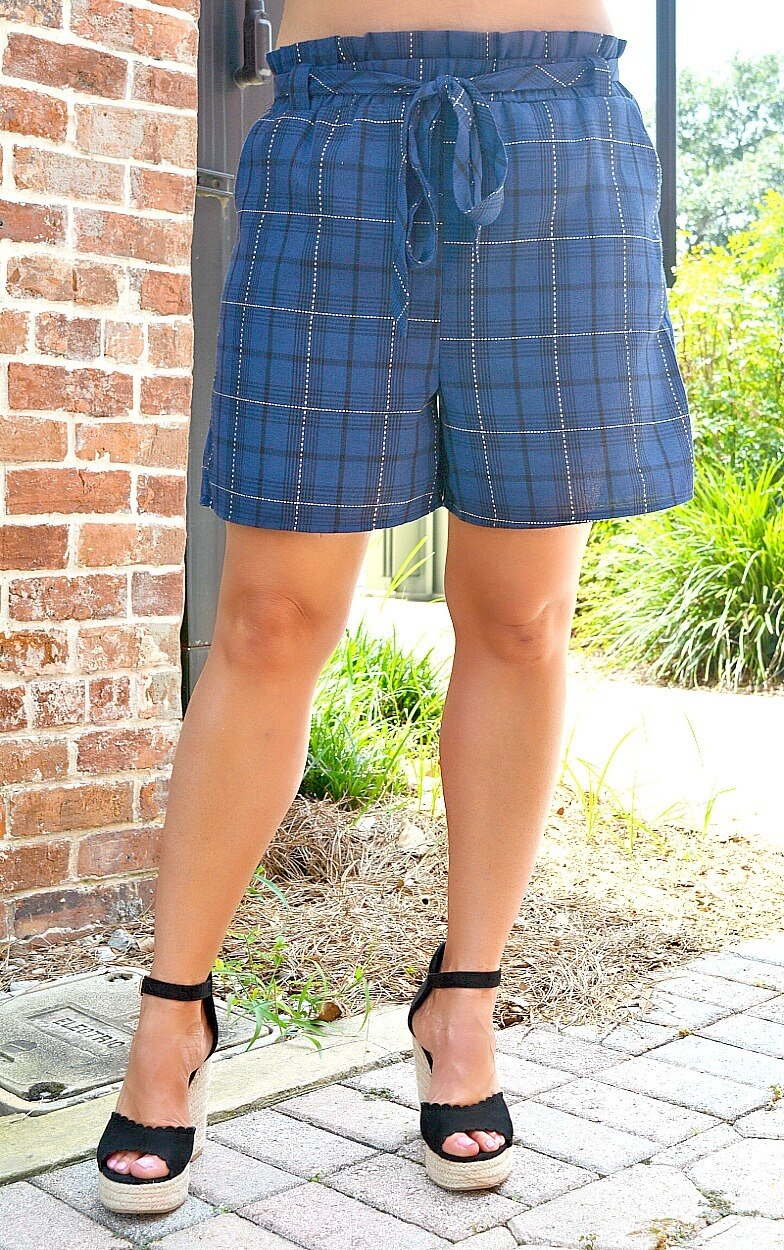 Attention To Detail Plaid Shorts - Navy