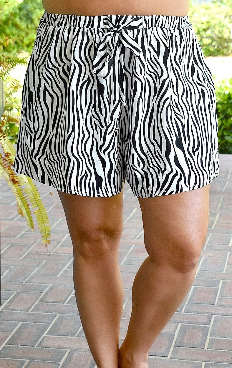 Wild Adventure Zebra Print Shorts