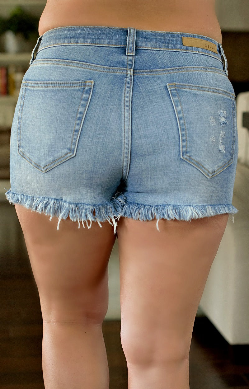 The Way You Move Distressed Denim Shorts - Medium Wash