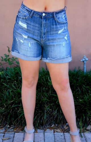 On It High Waist Distressed Denim Shorts - Medium Wash