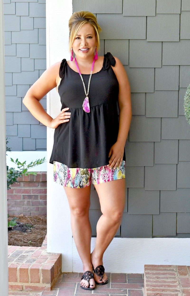 Over The Rainbow Snake Print Shorts