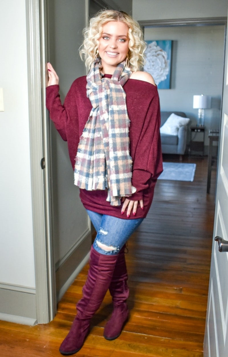 Hard To Say Plaid Scarf