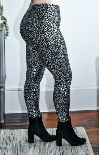 Sweet Girl Leopard Print Leggings - Black/Silver