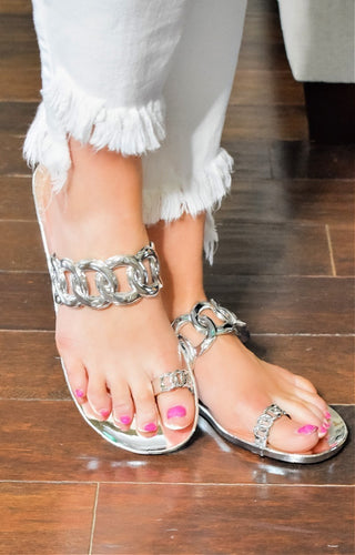 Take Your Time Jelly Sandals - Silver