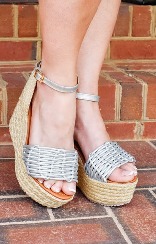 Be Available Ankle Strap Wedges - Silver