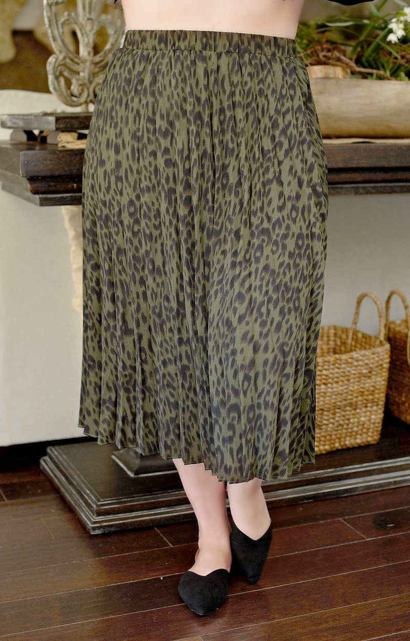Being Catty Leopard Print Skirt - Olive