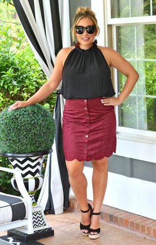 A Little Dangerous Skirt - Burgundy