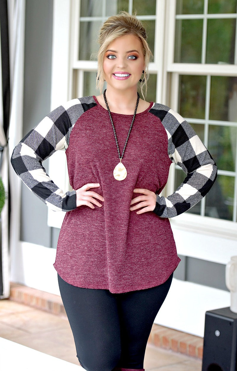 Smooth It Out Plaid Top - Burgundy/Black