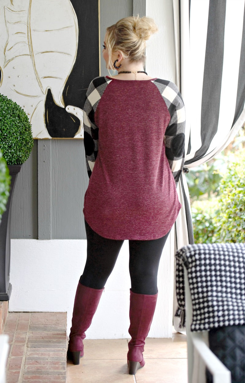 Load image into Gallery viewer, Smooth It Out Plaid Top - Burgundy/Black