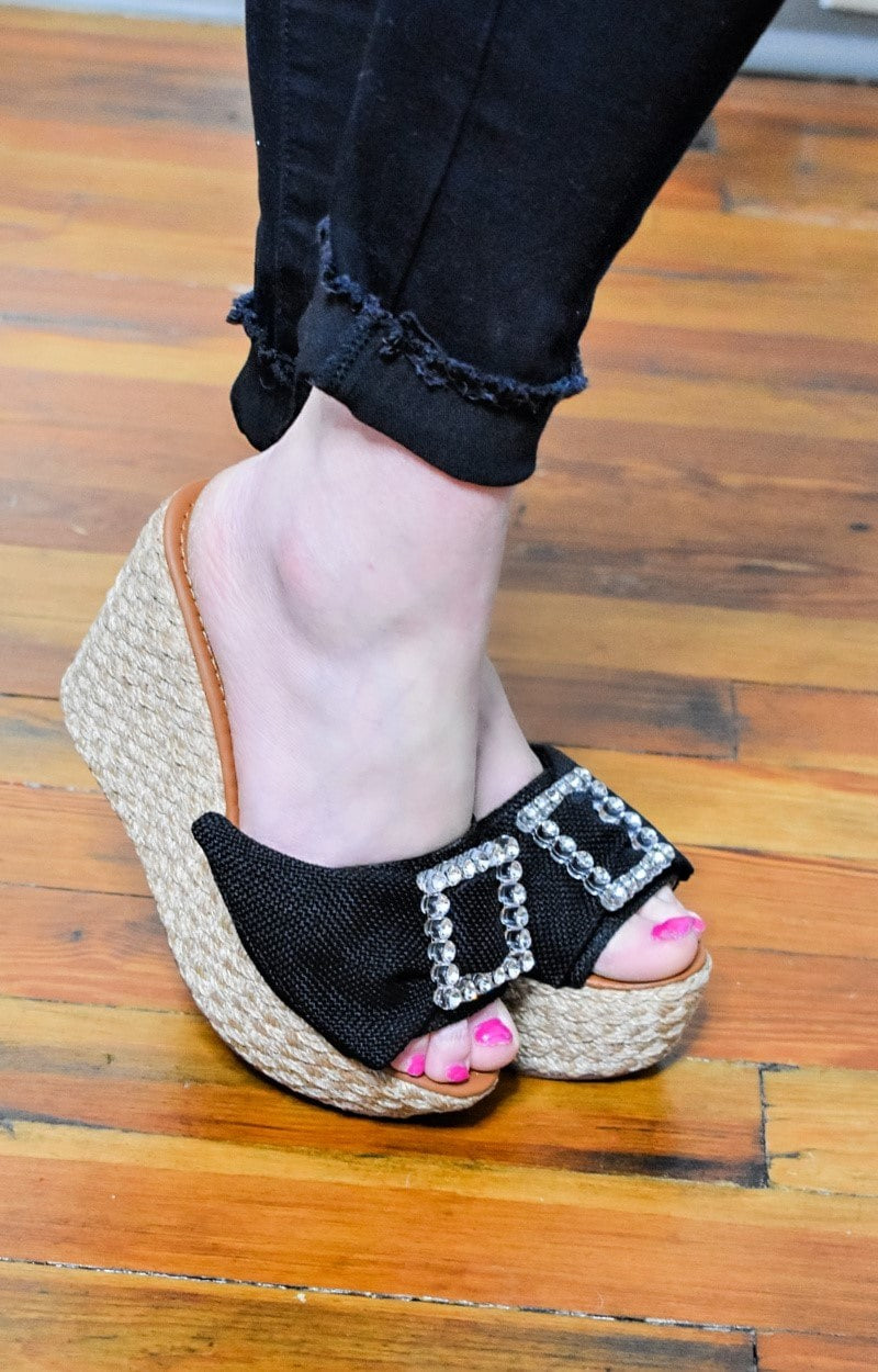 Load image into Gallery viewer, Diamonds Are Forever Wedges - Black