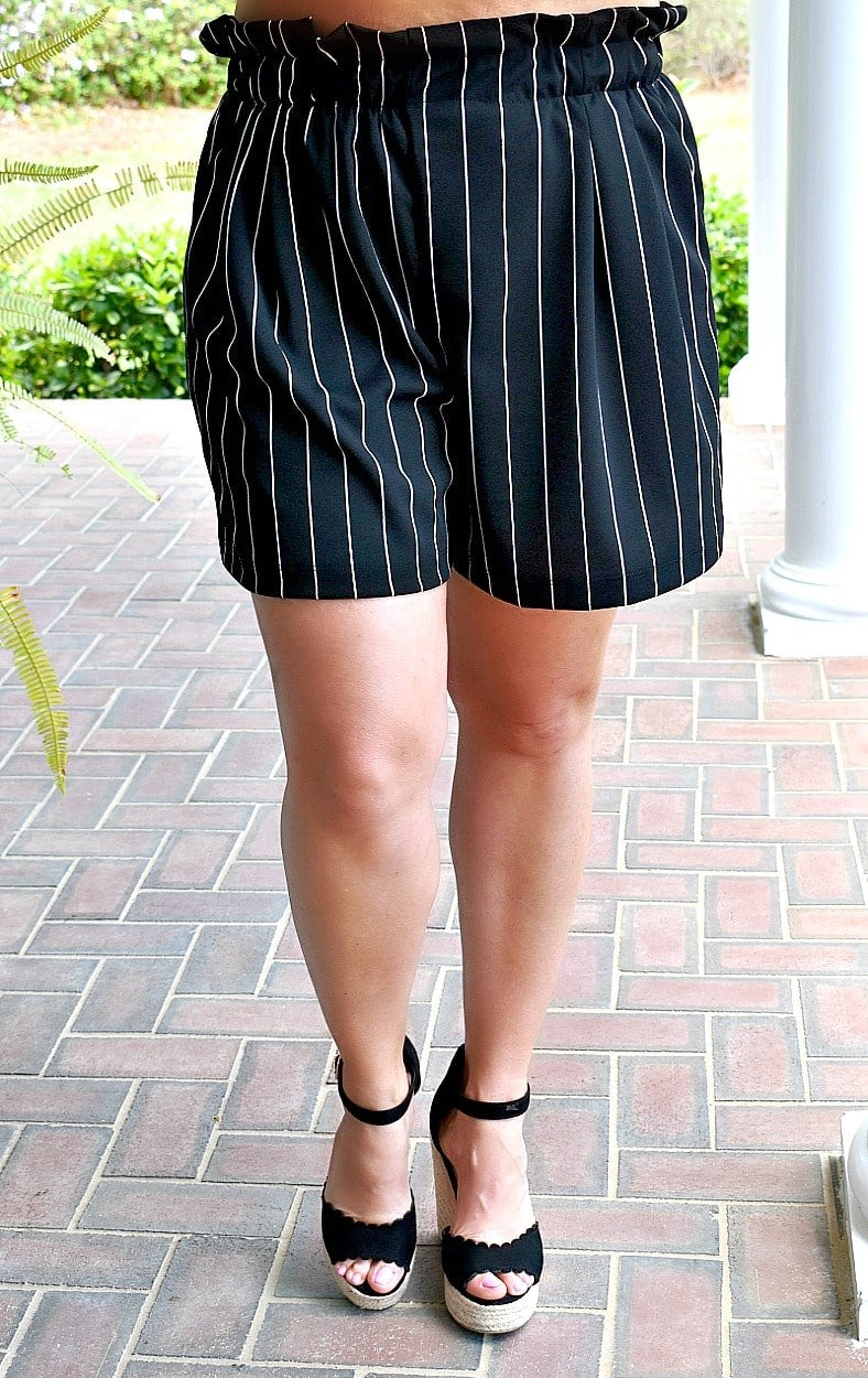 Load image into Gallery viewer, Keep In Touch Striped Shorts - Black/White