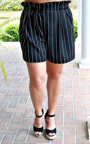 Keep In Touch Striped Shorts - Black/White
