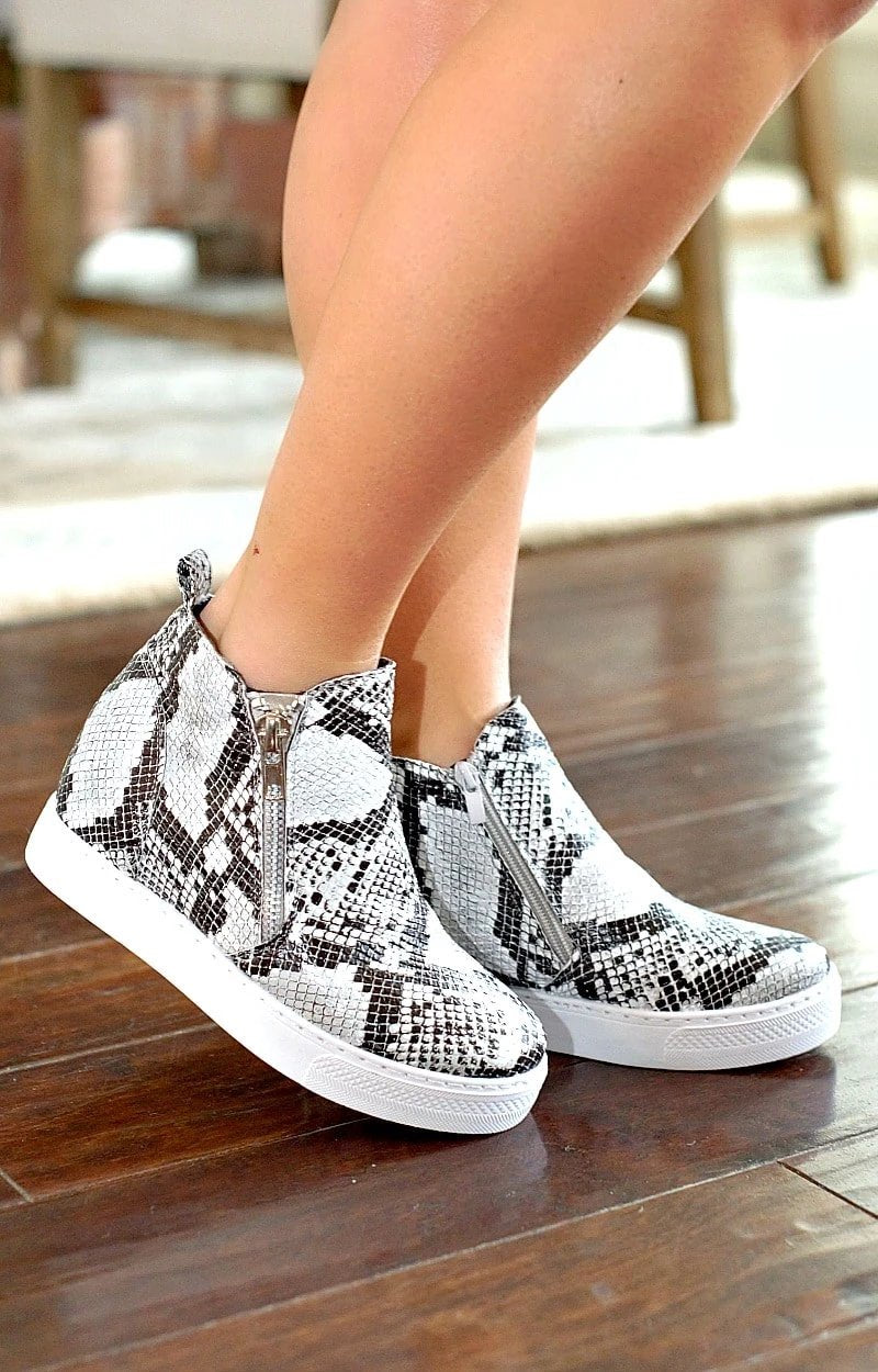 Better For Me Snake Print Wedge Sneakers