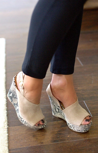 Tear It Up Snake Print Wedges - Taupe