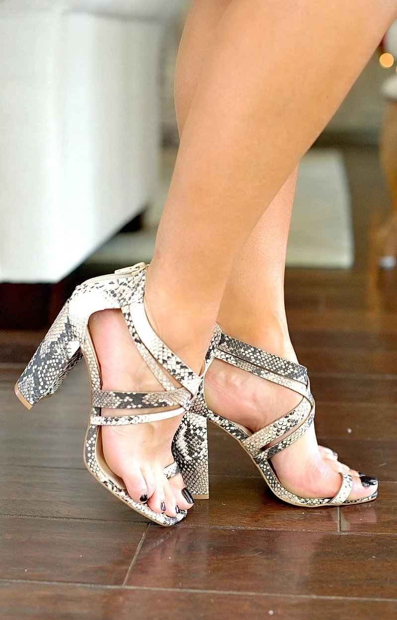 Load image into Gallery viewer, Wild Nights Snake Print Heels