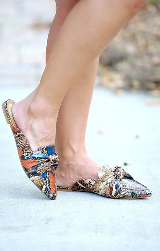 Follow Along Snake Print Mules - Multi