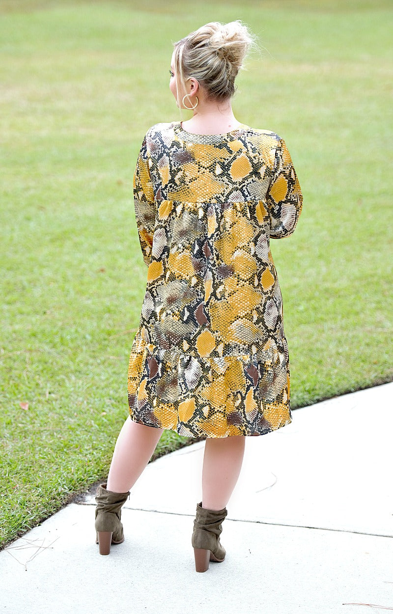 Load image into Gallery viewer, Beautiful Feeling Snake Print Dress - Mustard