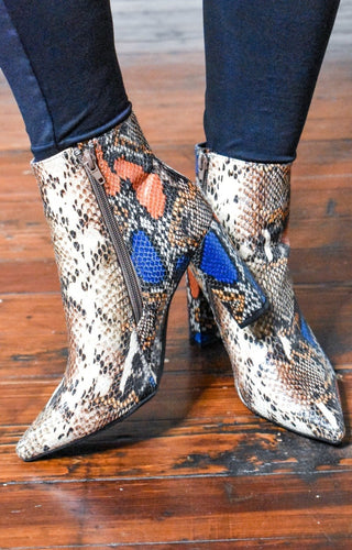 Trace Of Love Snake Print Booties - Tan/Multi